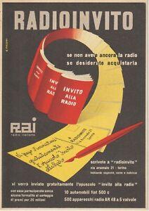 1951  RAI RADIO ITALIANA RADIOINVITO ILLUSTRATORE POLLONI