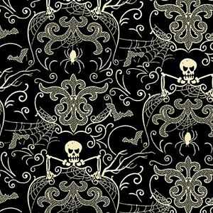 Midnight Haunt Halloween Spooky Damask Black Haunt Cotton Quilting Fabric