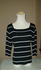 David Brooks black and white shell top 3/4 length sleeves women's size s/p