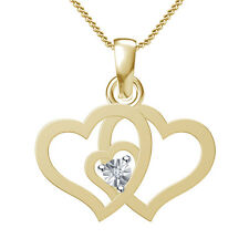 18kt Gold Micro Plated in 925 Silver White Real Diamond Triple Heart Pendant