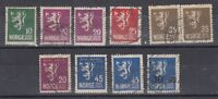 Norway ORE Post Collection of 10 Values VFU J564