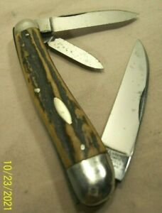 1920's~IXL GEORGE WOSTENHOLM~STAG WHARNCLIFFE WITTLER SERPENTINE JACK KNIFE~RARE