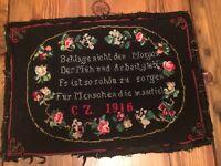 """ANTIQUE 1916 Wool NEEDLEPONT German Poem """"Beklage nicht den Morgen"""" Completed"""