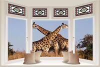 Huge 3D Bay Window Giraffes On Safari View Wall Stickers Mural Wallpaper 219