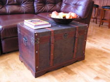 Wood Coffee Table Storage Trunk Vintage Steamer Chest Large Leather Strap Wooden