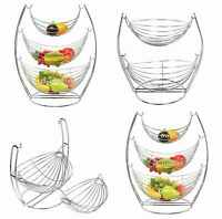 2 & 3 TIER CHROME SWINGING FRUIT VEGETABLE BOWL BASKET RACK STORAGE STAND HOLDER