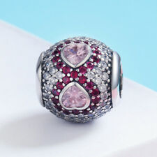 Fresh Pink Crystal Beads Charms Pendant Fits 925 Silver Bracelet/Necklace Chain