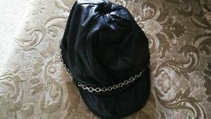Bebe Unisex  Black lamb skin 100% Genuine Leather stylish Hat size M