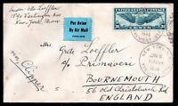 USA 1949 30c Wings Airmail cover via Clipper to England WS10807