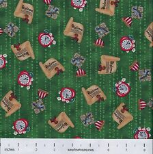 Wizard of Oz The Magic of Oz AWARDS TOSS on GREEN Fabric By the FQ - 1/4 YD
