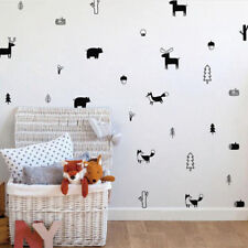 Nordic Style Woodland Wall Decal Forest Tree And Elk Deer Vinyl Art Stickers DIY