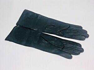 Vintage Ladies Navy Black 13 Inch Long Leather Gloves Spain Possibly Unworn
