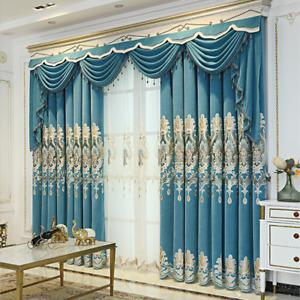 DIY Tulle European Velvet Curtain Panel Blackout Embroidery Sheer Window Drapery