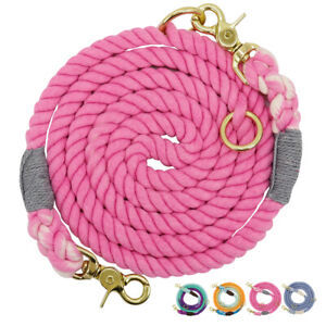 6ft Strong Pet Dog Leash Braided Cotton Rope Running Leash Hands Free 2 Dog Lead