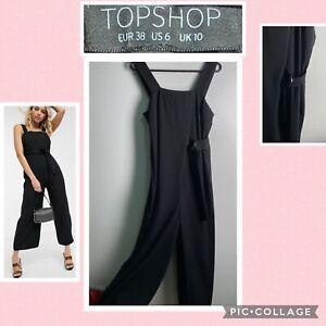 Topshop Size 10 Ring Waist Tie Jumpsuit RRP $90