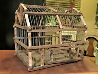 VINTAGE ANTIQUE WOOD AND WIRE Barn Shaped BIRD CAGE