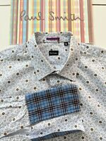 PAUL SMITH Tartan Double Cuff Shirt - 15.5 Collar - Floral Pattern