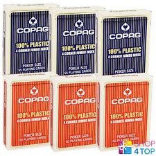 6 DECKS COPAG 4 CORNER JUMBO INDEX 100% PLASTIC POKER CARDS BOX CASE RED BLUE