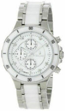 Bulova 98P125  Round White Analog Diamond Ceramic Stainless Steel Watch