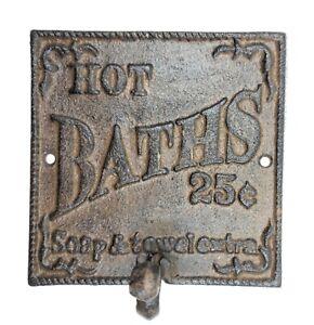 Rustic Hot Bath Sign Hook Farmhouse Primitive Wall Bathroom Decor