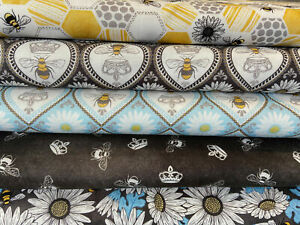 Michael Miller 'Queen Bee' 100% Cotton Fabric by 1/4 Metre* Bumble Bee Crown