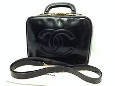 Auth CHANEL Shoulder Hand Bag Vanity Black Patent Leather 6H020240m