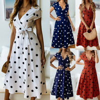 Women Summer Boho Long Midi Dress Cocktail Party Beach Dresses Polka Dot Dress