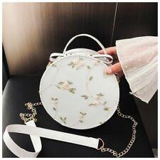 High Quality Sweet Lace Round Handbags Women Crossbody Bags Female Flower Chain