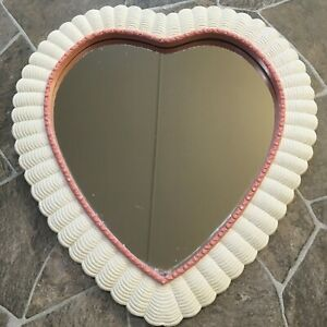 "Burwood HEART Shaped MIRROR Pink White HOMCO Home Interiors 16"" x 15"""