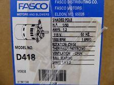 Fasco D418 Motor 1/50 HP 115V 60Hz 1500 RPM 1 Speed