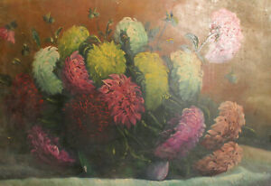 Vintage impressionist oil painting still life with flowers