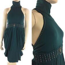 Brazilian Stretchy Womens Short Dress Sleeveless Turtleneck Studded Large XL