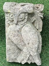 More details for antique reclaimed architectural hand carved owl corner stone 18th century lovely