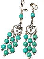 Turquoise Chandelier Earrings Long Clip-On Tibetan Silver Style Gemstone Bead