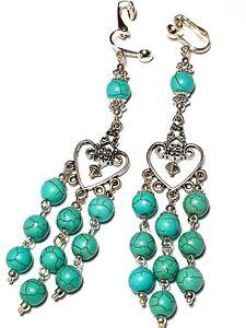 Long Silver Turquoise Chandelier Clip-On Earrings Howlite Gemstone Bead Boho