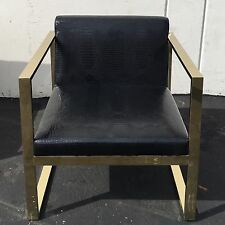 Hollywood Regency Glamour Chic Modern Faux Croc Lounge Chair Gold Mid Century