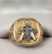 Mosanic Mens Gold And Diamond Ring 10K Gold Size -8 (J566)