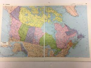 LARGE CANADA Map  Original Antique Vintage  44.4cm x 55.8cm ALASKA 1981 Print