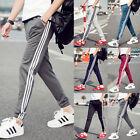 Mens Casual Dance Jogger Shorts Sport Stripe Joggings Gym Pants Long Trousers