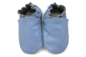 Kidzuu Soft Sole Baby Infant Leather Periwinkle Crib Shoe Bootie