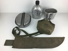 WWII Korean War US Canteen w/ Cover & Strap, Mess Kit, Cup, Machete Sheath Lot