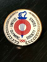 Vintage Collectible United States Olympic Society Metal Pinback Lapel Pin