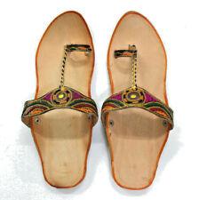 Women's Leather Jutti Traditional Punjabi Mojari Khussa Chappal US Style Design