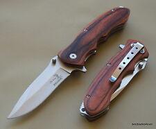 ELK RIDGE PAKKAWOOD HANDLE SPRING ASSISTED KNIFE WITH POCKET CLIP RAZOR SHARP