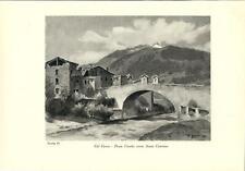 Stampa antica BORMIO Ponte Combo Valtellina Sondrio 1934 Old antique print