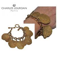 CHARLES JOURDAN Gros bracelet vintage de couleur or breloques feuilles bijou