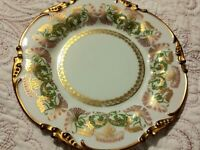 """Jean Pouyat Limoges French Gilt 8.5"""" Plate Art Nouveau Thistle POY1 1908 As Is 1"""