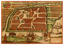 Moscow Moskva Central Russia bird's-eye view map Braun Hogenberg ca.1575
