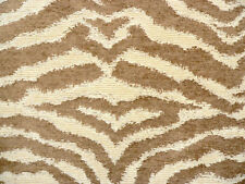 Drapery Upholstery Fabric Chenille Animal Print - Tiger in Tan and Cream