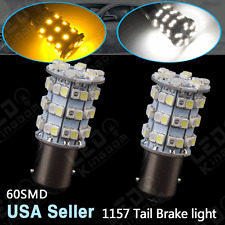 2 X Dual Color 1157 White/Amber Switchback 60SMD LED Tail Brake Stop Light Bulbs